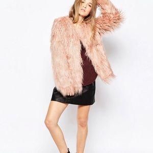 New Vero Moda Shaggy Faux Fur Jacket Blush Pink L